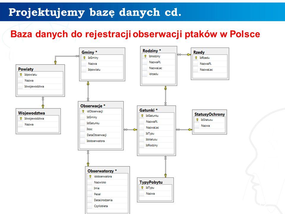 Projektujemy bazę danych cd. 12 Baza danych do rejestracji obserwacji ptaków w Polsce