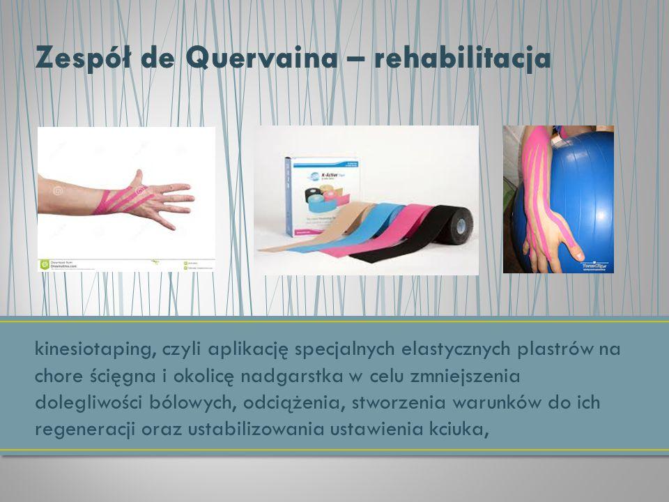 kinesiotaping, czyli aplikację specjalnych elastycznych plastrów na chore ścięgna i okolicę nadgarstka w celu zmniejszenia dolegliwości bólowych, odci