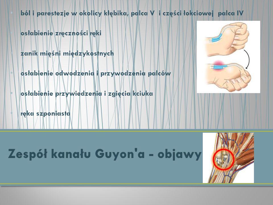 ból i parestezje w okolicy kłębika, palca V i części łokciowej palca IV osłabienie zręczności ręki zanik mięśni międzykostnych osłabienie odwodzenia i