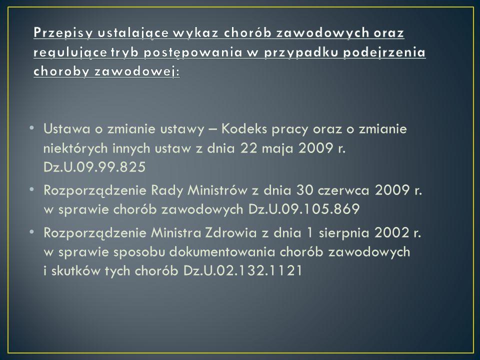 Ustawa o zmianie ustawy – Kodeks pracy oraz o zmianie niektórych innych ustaw z dnia 22 maja 2009 r. Dz.U.09.99.825 Rozporządzenie Rady Ministrów z dn