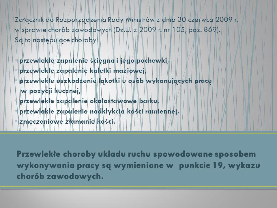Załącznik do Rozporządzenia Rady Ministrów z dnia 30 czerwca 2009 r. w sprawie chorób zawodowych (Dz.U. z 2009 r. nr 105, poz. 869). Są to następujące