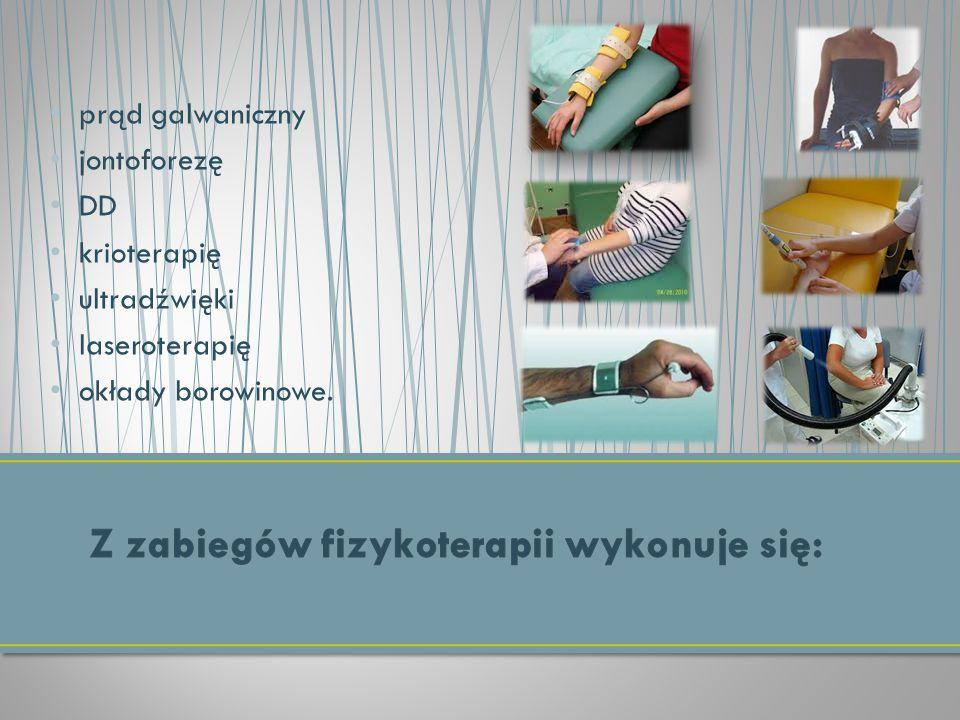 prąd galwaniczny jontoforezę DD krioterapię ultradźwięki laseroterapię okłady borowinowe.