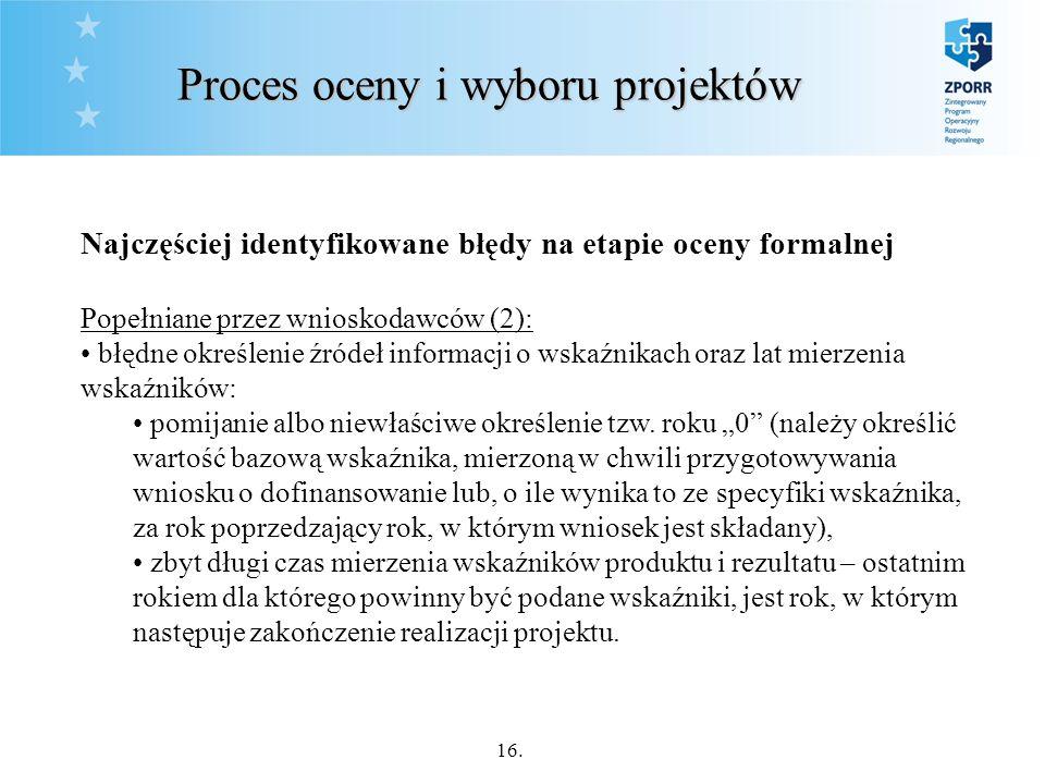 16. Proces oceny i wyboru projektów Najczęściej identyfikowane błędy na etapie oceny formalnej Popełniane przez wnioskodawców (2): błędne określenie ź