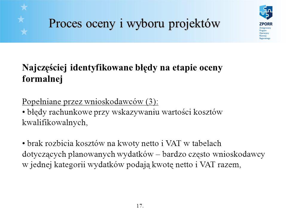 17. Proces oceny i wyboru projektów Najczęściej identyfikowane błędy na etapie oceny formalnej Popełniane przez wnioskodawców (3): błędy rachunkowe pr