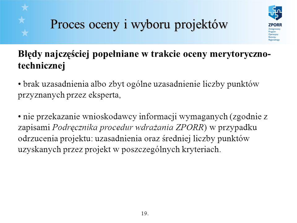 19. Proces oceny i wyboru projektów Błędy najczęściej popełniane w trakcie oceny merytoryczno- technicznej brak uzasadnienia albo zbyt ogólne uzasadni