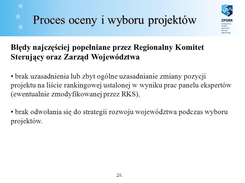 20. Proces oceny i wyboru projektów Błędy najczęściej popełniane przez Regionalny Komitet Sterujący oraz Zarząd Województwa brak uzasadnienia lub zbyt