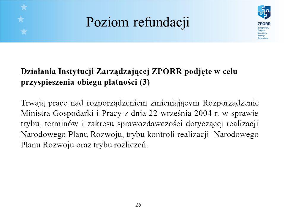 26. Poziom refundacji Działania Instytucji Zarządzającej ZPORR podjęte w celu przyspieszenia obiegu płatności (3) Trwają prace nad rozporządzeniem zmi