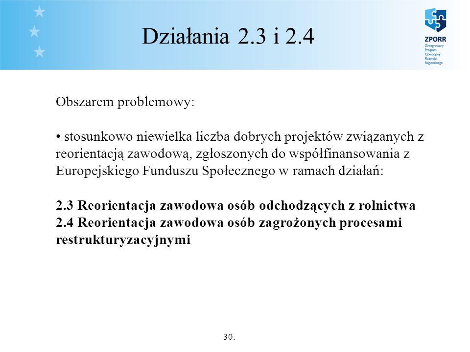 30. Działania 2.3 i 2.4 Obszarem problemowy: stosunkowo niewielka liczba dobrych projektów związanych z reorientacją zawodową, zgłoszonych do współfin
