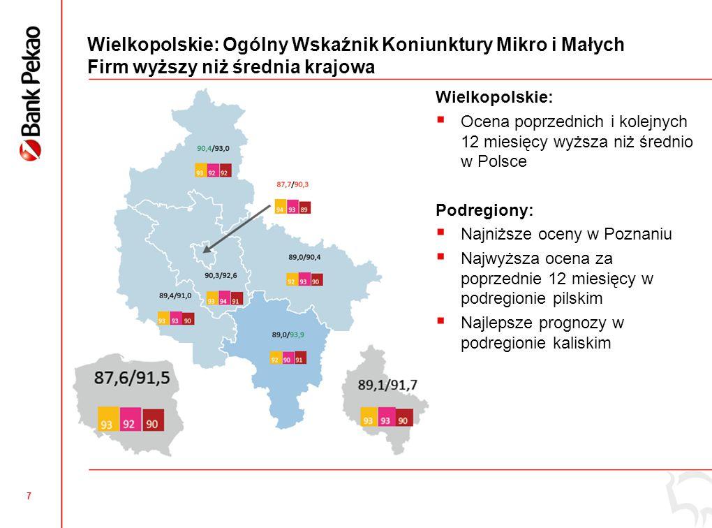 18 Wielkopolskie: Innowacyjność produktowa mikro i małych firm  Odsetek firm wprowadzających innowacje produktowe niższy od średniej krajowej,  Najbardziej innowacyjne firmy z Poznania,  W innowacje najmniej inwestują w Lesznie.