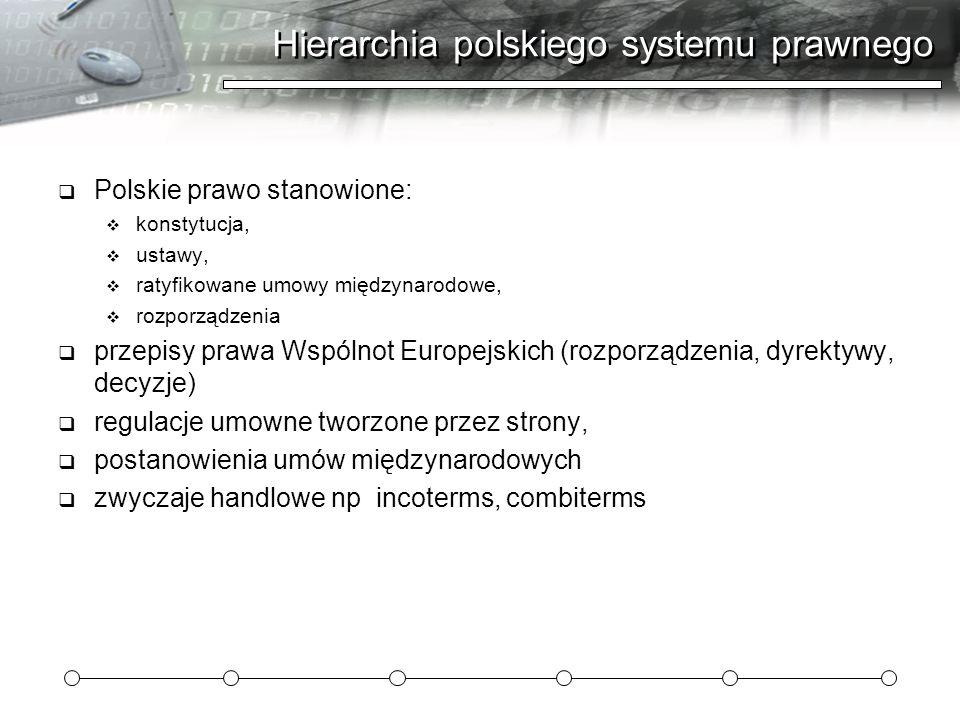 Hierarchia polskiego systemu prawnego  Polskie prawo stanowione:  konstytucja,  ustawy,  ratyfikowane umowy międzynarodowe,  rozporządzenia  przepisy prawa Wspólnot Europejskich (rozporządzenia, dyrektywy, decyzje)  regulacje umowne tworzone przez strony,  postanowienia umów międzynarodowych  zwyczaje handlowe np incoterms, combiterms