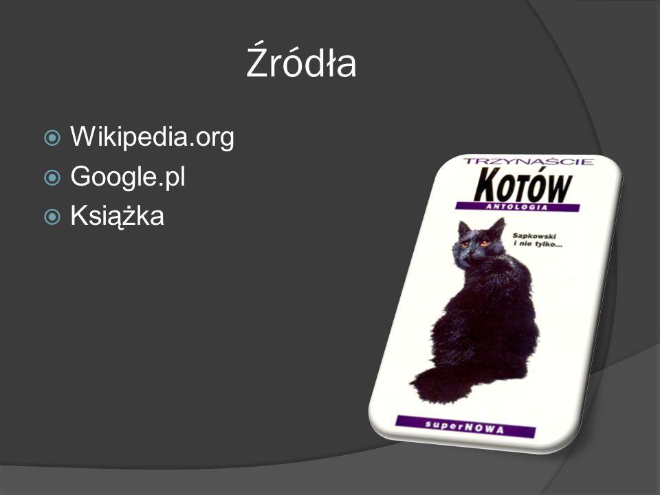 Źródła  Wikipedia.org  Google.pl  Książka