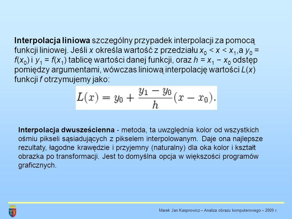 Interpolacja liniowa szczególny przypadek interpolacji za pomocą funkcji liniowej. Jeśli x określa wartość z przedziału x 0 < x < x 1,a y 0 = f(x 0 )