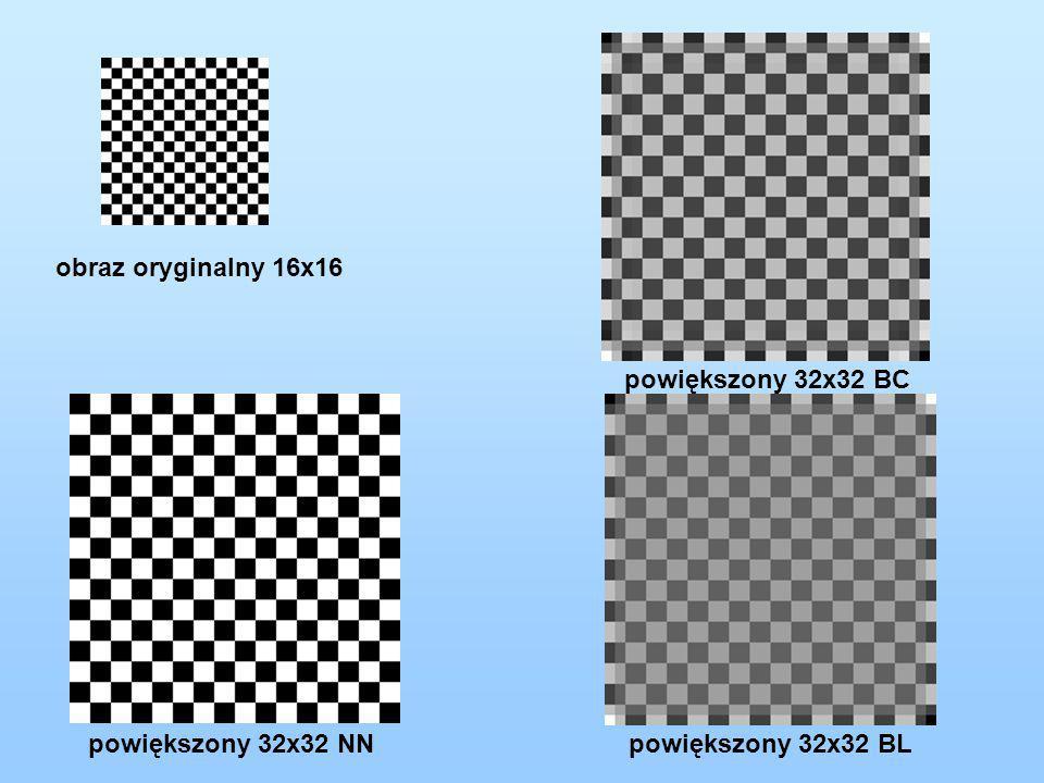 obraz oryginalny 16x16 powiększony 32x32 NN powiększony 32x32 BL powiększony 32x32 BC