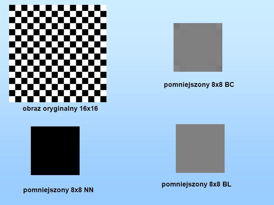 obraz oryginalny 16x16 pomniejszony 8x8 NN pomniejszony 8x8 BL pomniejszony 8x8 BC