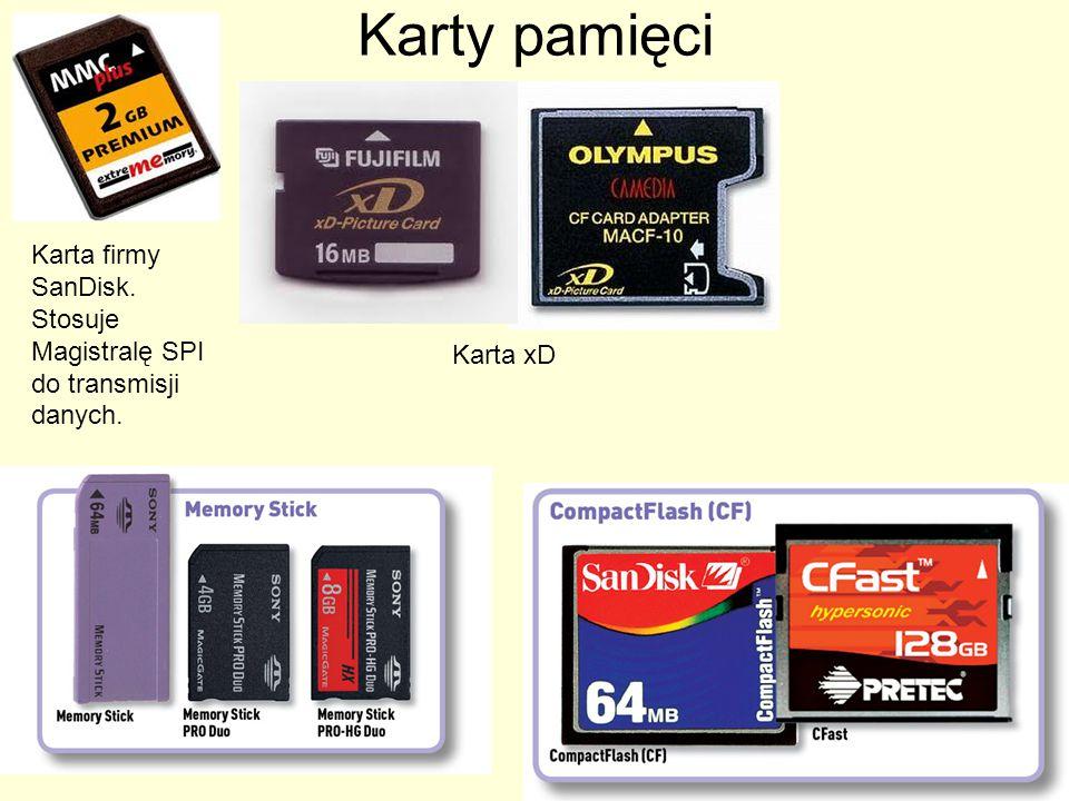 Karty pamięci Karta firmy SanDisk. Stosuje Magistralę SPI do transmisji danych. Karta xD