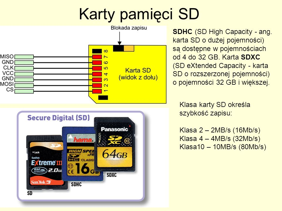 Karty pamięci SD SDHC (SD High Capacity - ang. karta SD o dużej pojemności) są dostępne w pojemnościach od 4 do 32 GB. Karta SDXC (SD eXtended Capacit