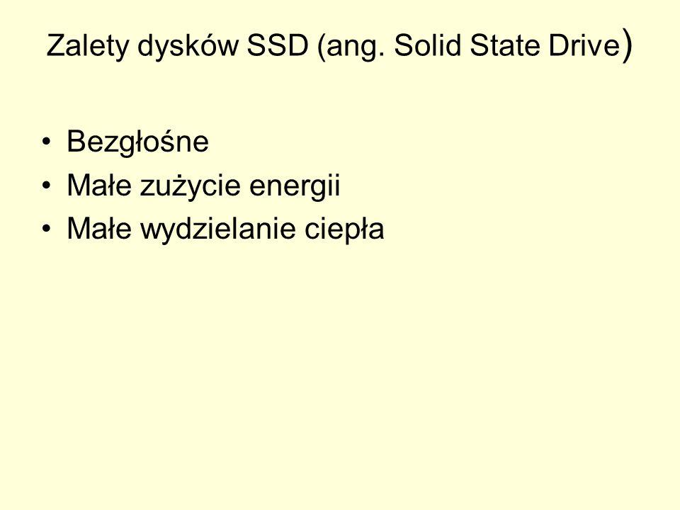 Zalety dysków SSD (ang. Solid State Drive ) Bezgłośne Małe zużycie energii Małe wydzielanie ciepła