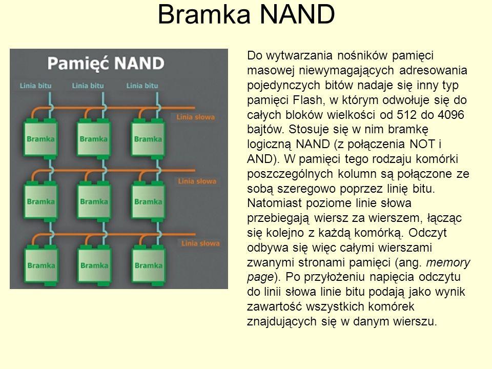 Bramka NAND Do wytwarzania nośników pamięci masowej niewymagających adresowania pojedynczych bitów nadaje się inny typ pamięci Flash, w którym odwołuj