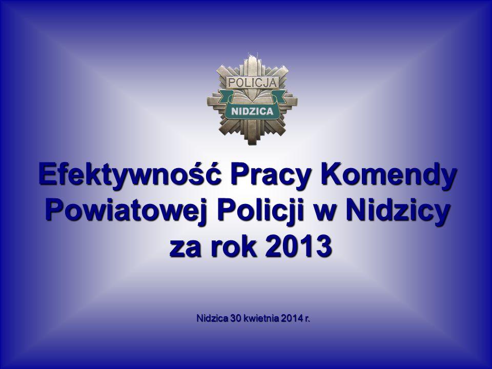 Efektywność Pracy Komendy Powiatowej Policji w Nidzicy za rok 2013 za rok 2013 Nidzica 30 kwietnia 2014 r.