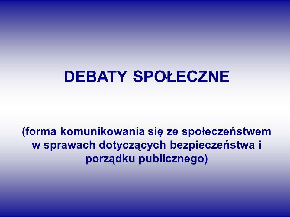 DEBATY SPOŁECZNE (forma komunikowania się ze społeczeństwem w sprawach dotyczących bezpieczeństwa i porządku publicznego)