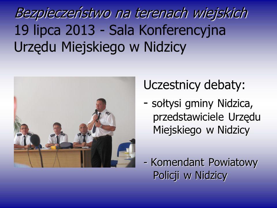 Bezpieczeństwo na terenach wiejskich Bezpieczeństwo na terenach wiejskich 19 lipca 2013 - Sala Konferencyjna Urzędu Miejskiego w Nidzicy Uczestnicy de
