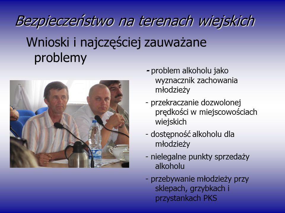 Bezpieczeństwo na terenach wiejskich - problem alkoholu jako wyznacznik zachowania młodzieży - przekraczanie dozwolonej prędkości w miejscowościach wi
