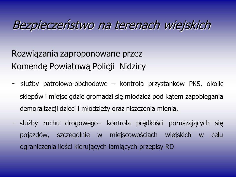 Bezpieczeństwo na terenach wiejskich Rozwiązania zaproponowane przez Komendę Powiatową Policji Nidzicy - służby patrolowo-obchodowe – kontrola przysta