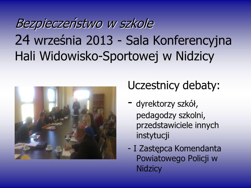 Bezpieczeństwo w szkole Bezpieczeństwo w szkole 24 września 2013 - Sala Konferencyjna Hali Widowisko-Sportowej w Nidzicy U Uczestnicy debaty: - dyrekt
