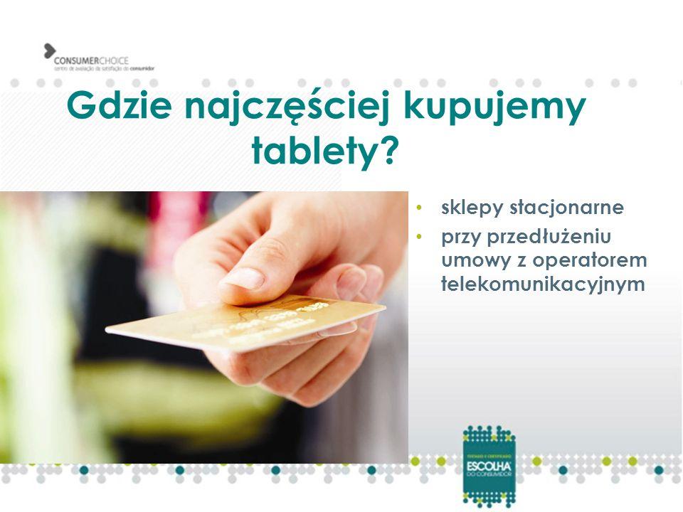 Gdzie najczęściej kupujemy tablety? sklepy stacjonarne przy przedłużeniu umowy z operatorem telekomunikacyjnym
