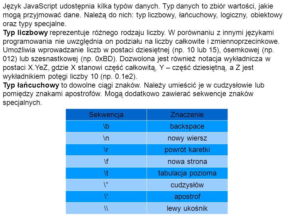 Język JavaScript udostępnia kilka typów danych.