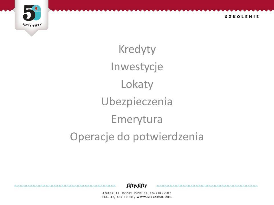 Kredyty Inwestycje Lokaty Ubezpieczenia Emerytura Operacje do potwierdzenia