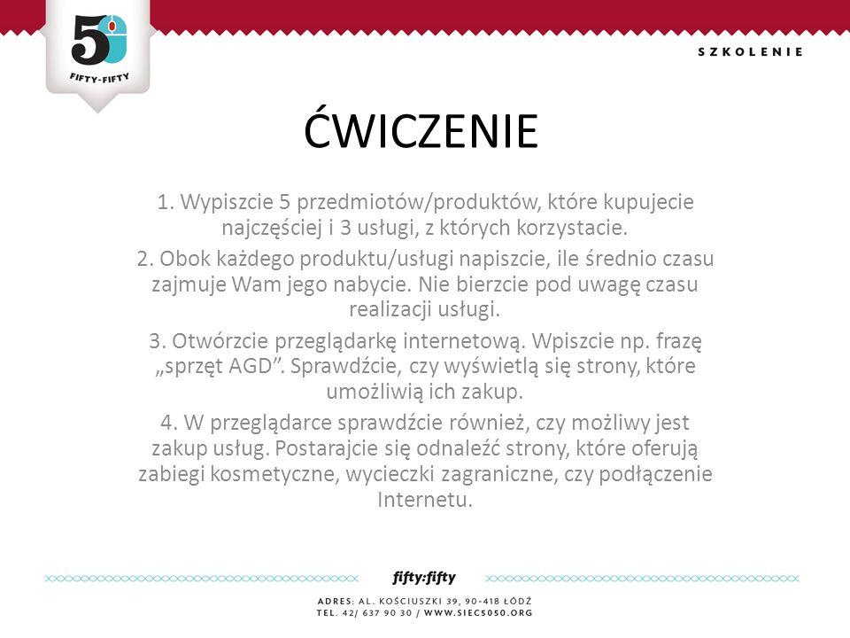 Przykładowe korzyści, które mogą płynąć z robienia zakupów przez Internet Oszczędność czasu Brak ograniczeń czasowych Wygoda Łatwy i szybki dostęp do informacji Szczegółowe opisy towarów Możliwość porównywania kilku produktów Szeroki asortyment towarów, wszystko znajduje się w jednym miejscu Dostęp do ofert sklepów nie tylko w Polsce, ale i na całym świecie Możliwość spytania internautów o opinię Możliwość kontrolowania wydatków Możliwość przeglądania ofert 24h na dobę Możliwość wyszukiwania towarów według dowolnych kryteriów (np.