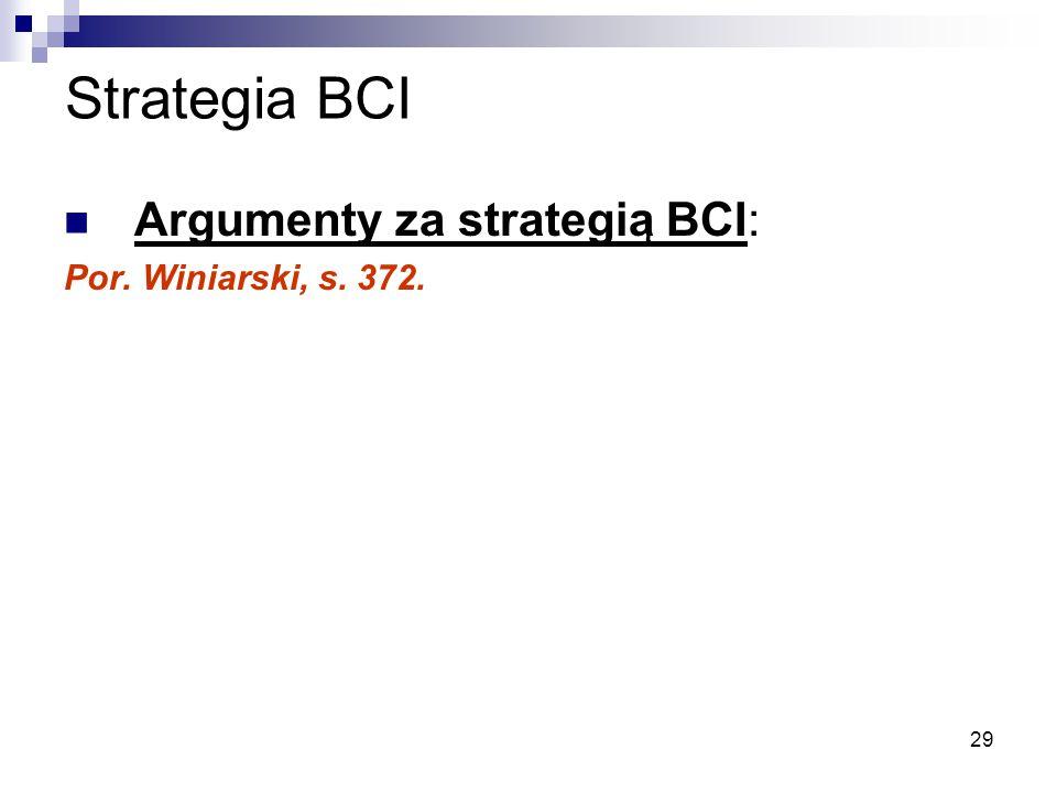 29 Strategia BCI Argumenty za strategią BCI: Por. Winiarski, s. 372.
