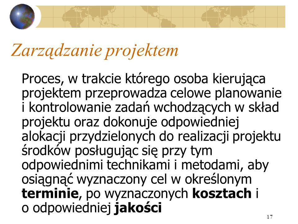 17 Zarządzanie projektem Proces, w trakcie którego osoba kierująca projektem przeprowadza celowe planowanie i kontrolowanie zadań wchodzących w skład