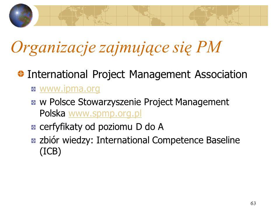 63 Organizacje zajmujące się PM International Project Management Association www.ipma.org w Polsce Stowarzyszenie Project Management Polska www.spmp.o