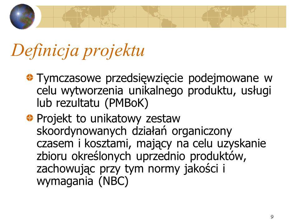 9 Definicja projektu Tymczasowe przedsięwzięcie podejmowane w celu wytworzenia unikalnego produktu, usługi lub rezultatu (PMBoK) Projekt to unikatowy