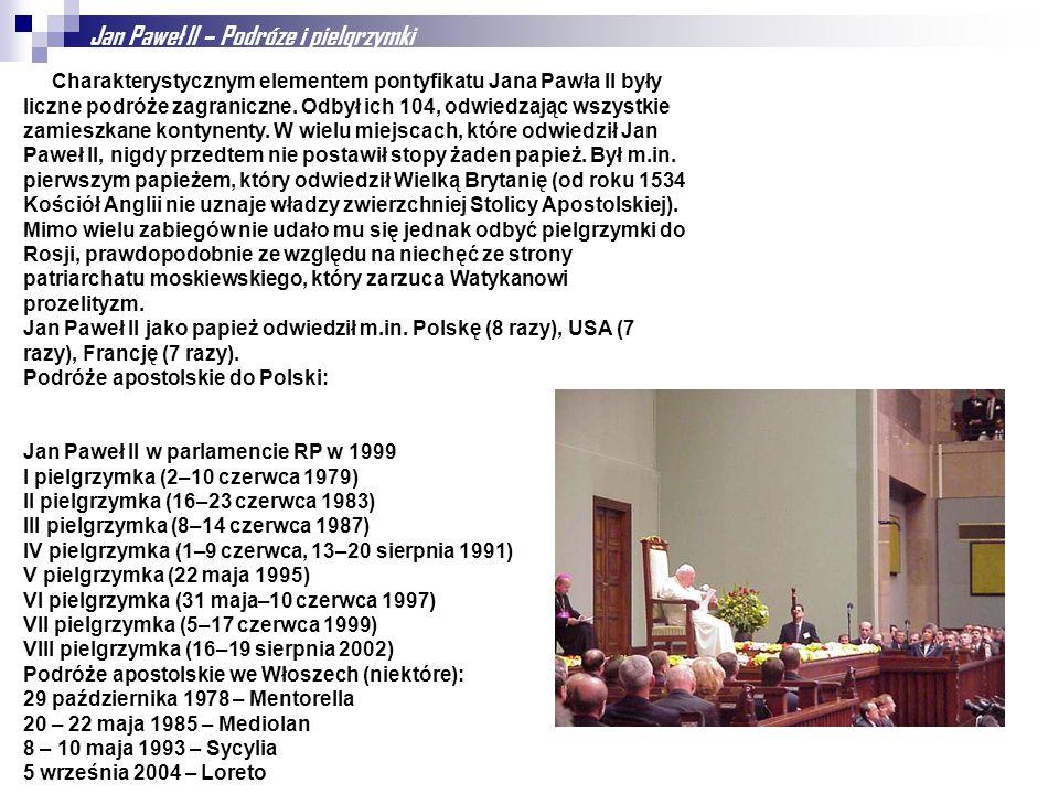 Jan Paweł II – Podróze i pielgrzymki Charakterystycznym elementem pontyfikatu Jana Pawła II były liczne podróże zagraniczne. Odbył ich 104, odwiedzają