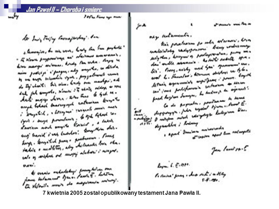 Jan Paweł II – Choroba i smierc Jan Paweł II od początku lat 90. cierpiał na postępującą chorobę Parkinsona. Mimo licznych spekulacji i sugestii ustąp