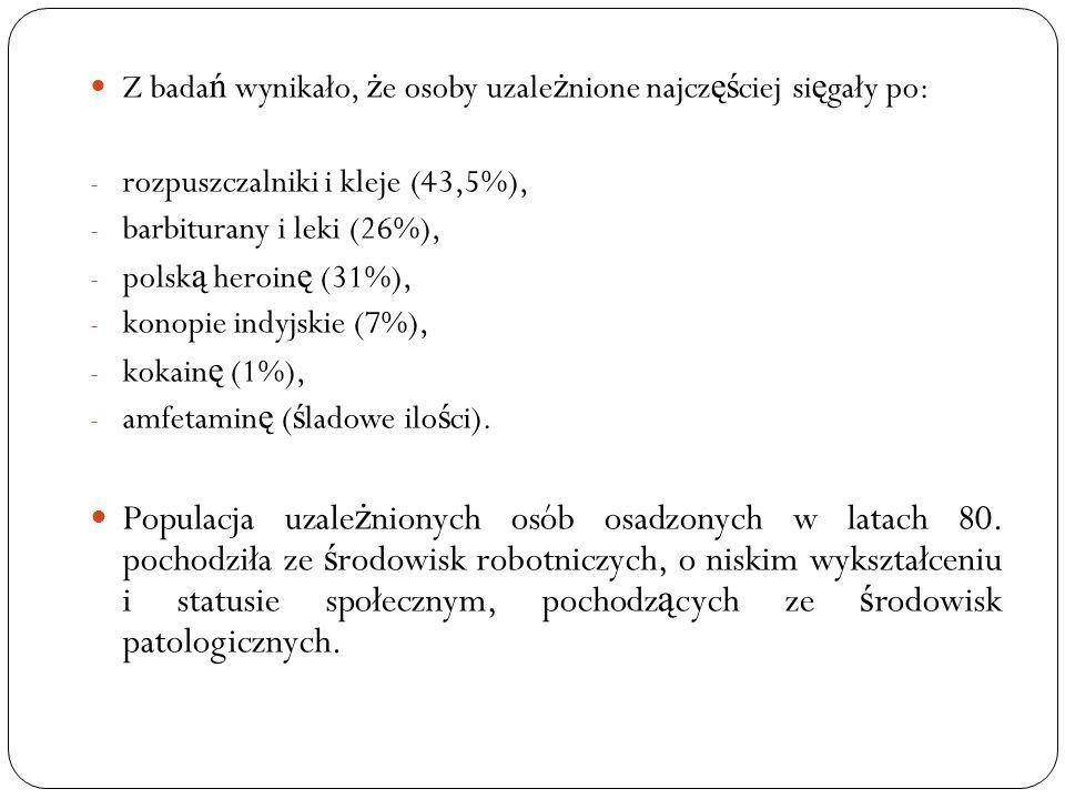 Z bada ń wynikało, ż e osoby uzale ż nione najcz ęś ciej si ę gały po: - rozpuszczalniki i kleje (43,5%), - barbiturany i leki (26%), - polsk ą heroin