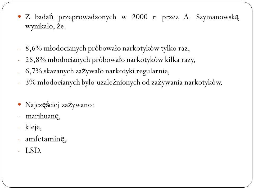 Z bada ń przeprowadzonych w 2000 r. przez A. Szymanowsk ą wynikało, ż e: - 8,6% młodocianych próbowało narkotyków tylko raz, - 28,8% młodocianych prób