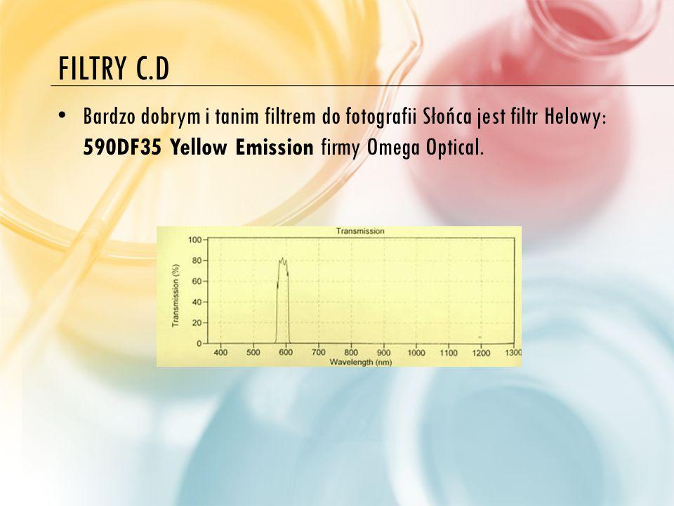FILTRY C.D Bardzo dobrym i tanim filtrem do fotografii Słońca jest filtr Helowy: 590DF35 Yellow Emission firmy Omega Optical.