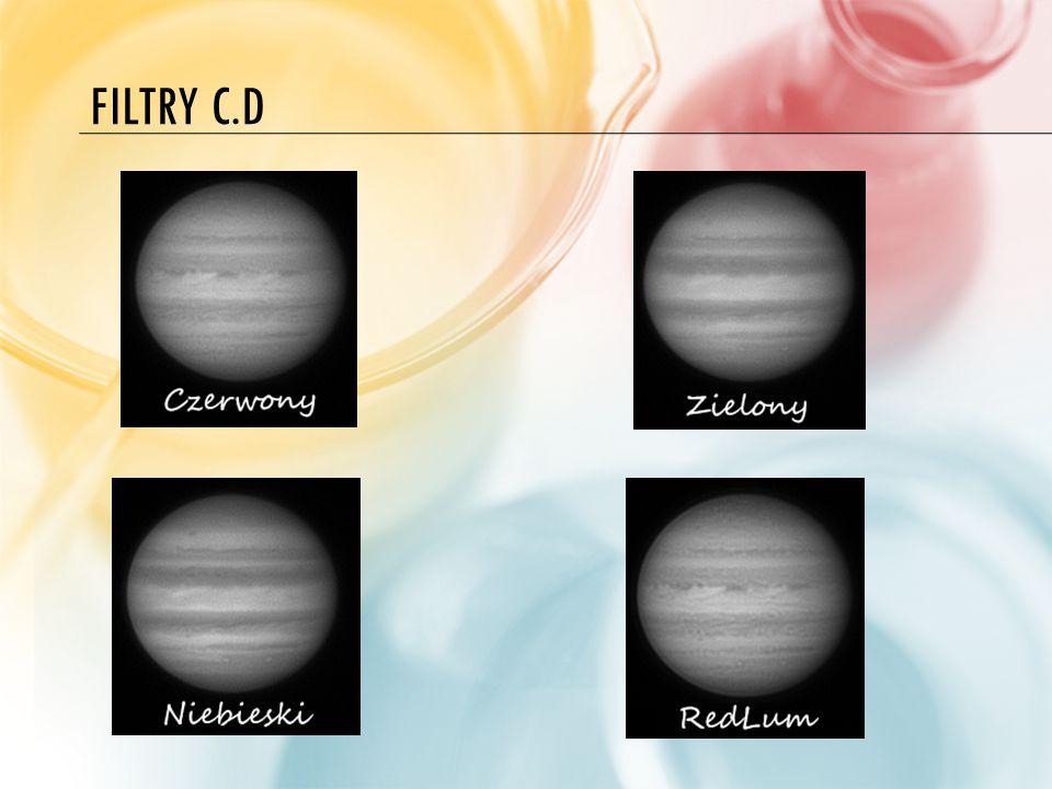 FILTRY C.D.Osobiście przy fotografii Księżyca stosuje tylko czerwony filtr wizualny.