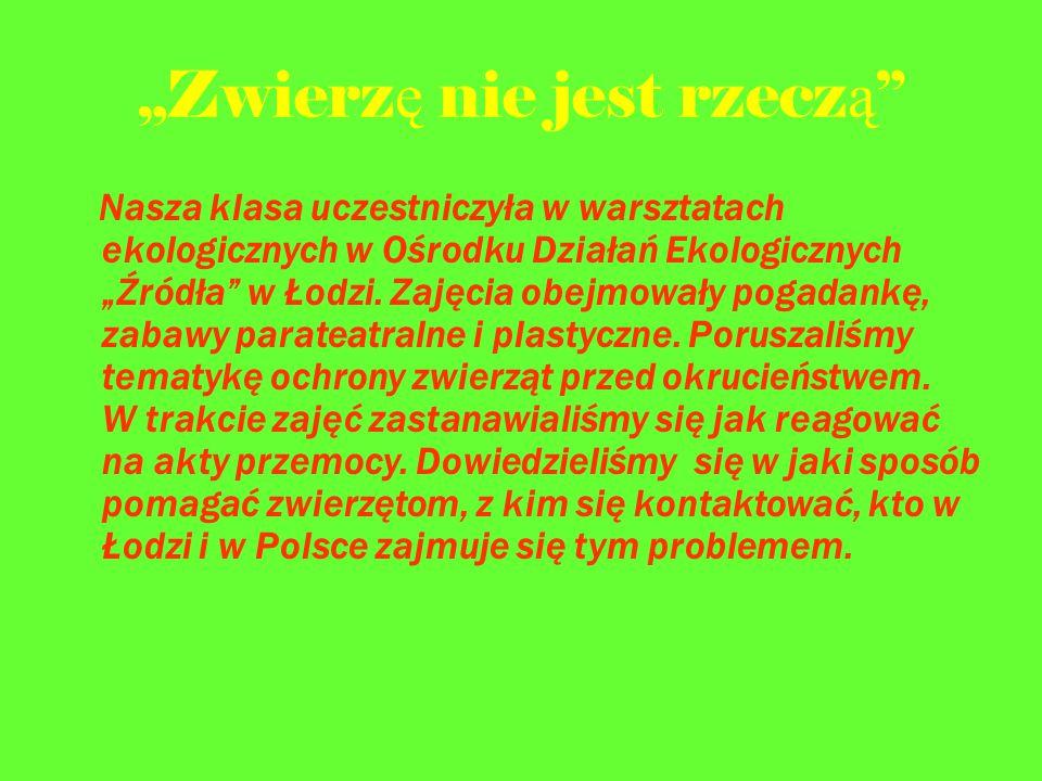 """""""Zwierz ę nie jest rzecz ą Nasza klasa uczestniczyła w warsztatach ekologicznych w Ośrodku Działań Ekologicznych """"Źródła w Łodzi."""