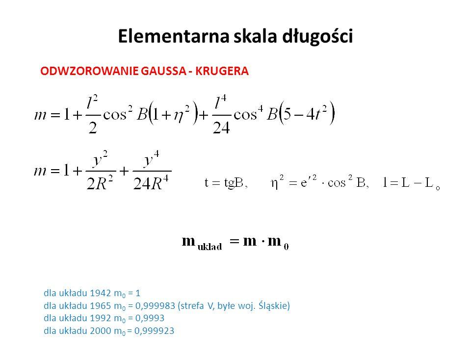 dla układu 1942 m 0 = 1 dla układu 1965 m 0 = 0,999983 (strefa V, byłe woj. Śląskie) dla układu 1992 m 0 = 0,9993 dla układu 2000 m 0 = 0,999923 Eleme