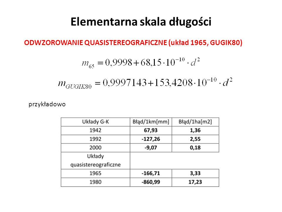 Elementarna skala długości ODWZOROWANIE QUASISTEREOGRAFICZNE (układ 1965, GUGIK80) przykładowo