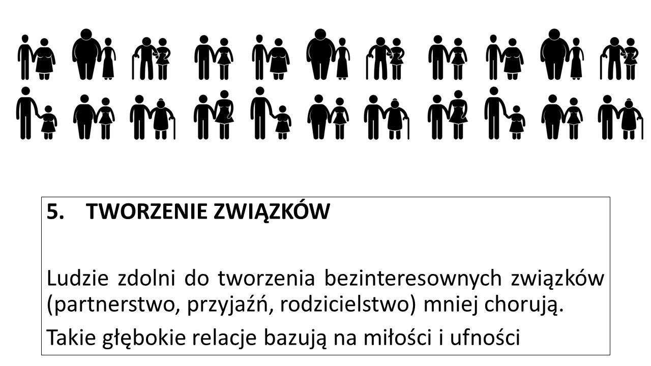5.TWORZENIE ZWIĄZKÓW Ludzie zdolni do tworzenia bezinteresownych związków (partnerstwo, przyjaźń, rodzicielstwo) mniej chorują. Takie głębokie relacje