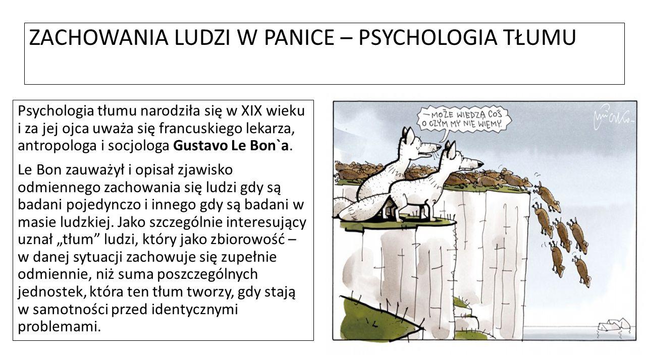 ZACHOWANIA LUDZI W PANICE – PSYCHOLOGIA TŁUMU Psychologia tłumu narodziła się w XIX wieku i za jej ojca uważa się francuskiego lekarza, antropologa i