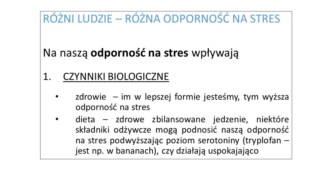 RÓŻNI LUDZIE – RÓŻNA ODPORNOŚĆ NA STRES Na naszą odporność na stres wpływają 1.CZYNNIKI BIOLOGICZNE zdrowie – im w lepszej formie jesteśmy, tym wyższa