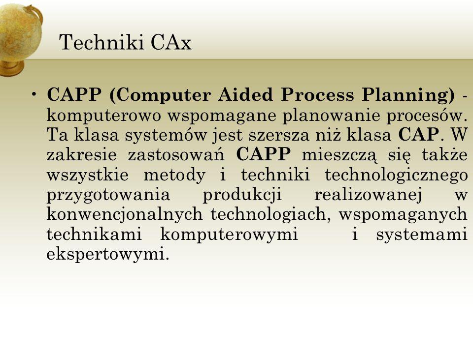 Techniki CAx CAPP (Computer Aided Process Planning) - komputerowo wspomagane planowanie procesów. Ta klasa systemów jest szersza niż klasa CAP. W zakr