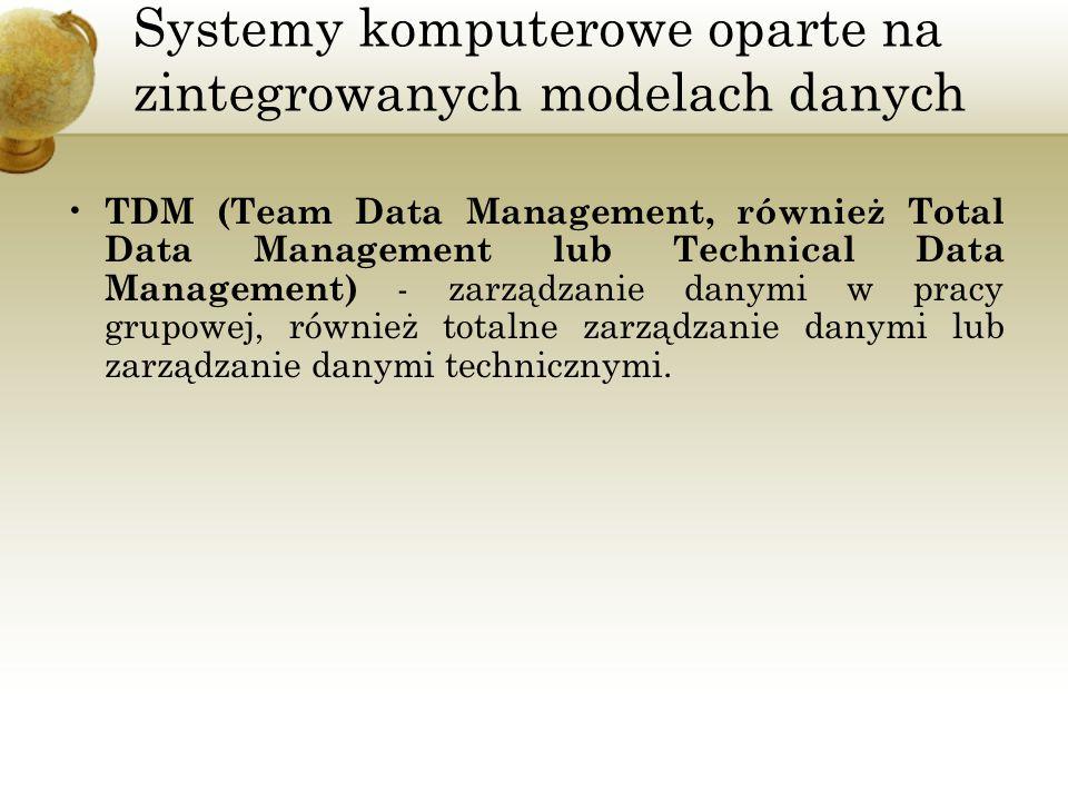 Systemy komputerowe oparte na zintegrowanych modelach danych TDM (Team Data Management, również Total Data Management lub Technical Data Management) -